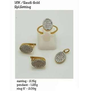 18K SPL SAUDI GOLD SET ( PENDANT, RING & EARRINGS ) .,''',,