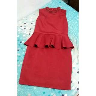 Maroon Peplum Dress