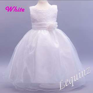 White Long Gown Bridesmaids Children Dress Flower Girls Wedding Dress