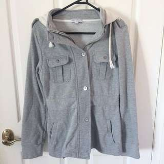 Grey jacket with hood
