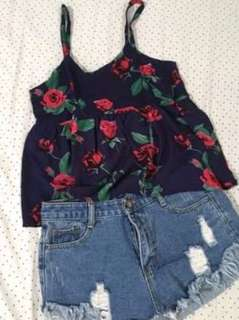 Summer top in blue red rose design