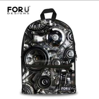 Automobile Car Engine Machine Gear Backpack