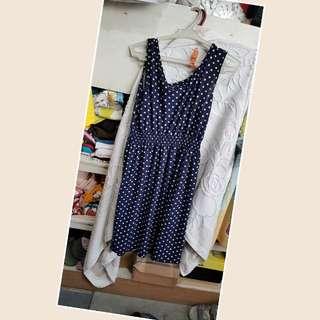 Blue polkadot mini dress