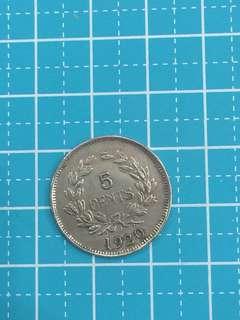 Sarawak 5 cent Year 1920