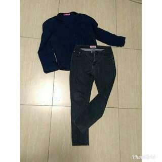 (set) long sleeve navy blue+black skinny jeans