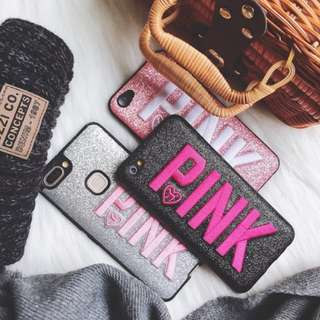 S001 INSTOCKS Brand New PINK VS Inspired Full Coverage Soft Shell Mobile Hand Phone HP Case Casing Cover Slipcase Sleeve Apple IPhone 6 6S Plus 7 7Plus 8 8Plus + R9 R9s R11 R11s Plus Oppo Drop Resistance Black Pink Glittery Shimmery Bling Sparkly Silver