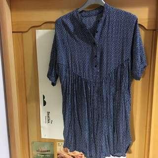 🚚 韓版深藍碎花短袖短洋裝