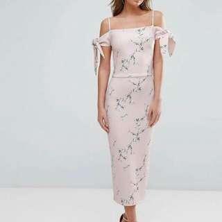 3D Floral Off Shoulder Ribbon Dress