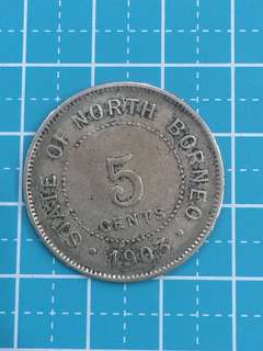 🔥Clearance🔥North Borneo 5 Cents Year 1903