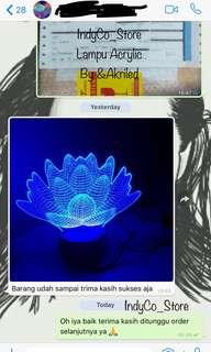 Testimoni Lampun Acrylic 3D