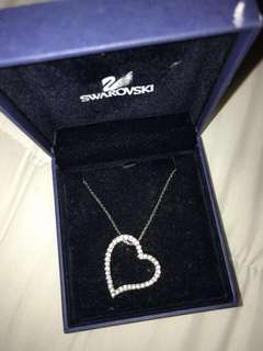 Authentic Swarovski silver Crystal Heart Necklace