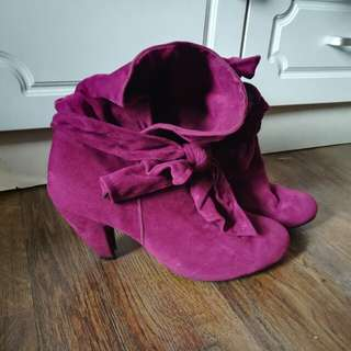 Fuschia Suede Ankle Boots