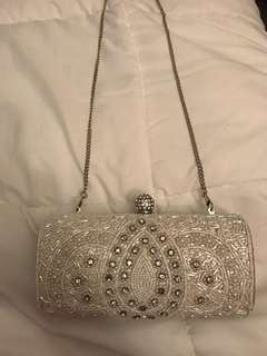 Forever New diamanté embroidered clutch