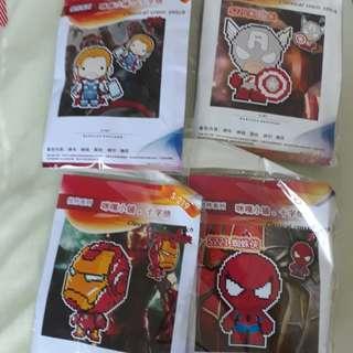 Avengers Spiderman Thor Captain American Ironman Cross stitch keychain DIY set