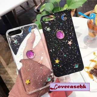 手機殼IPhone6/7/8/plus/X : 紫色星球閃粉底全包邊軟殼