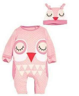 Animal Jumpsuit and Hat Owl