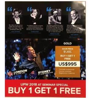 Tony Robbins Live in Sydney from 13-16 Sept 2018!!Hurry get your 1 for 1 offer!!Limited tickets left..