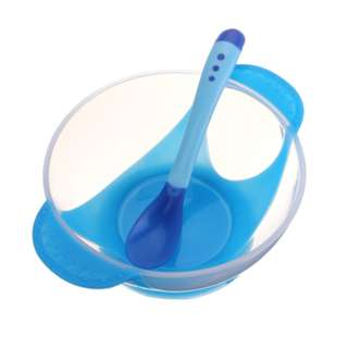 Suction Bowl with Heat Sensored Spoon in Blue
