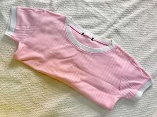 Pink ringer cropped top
