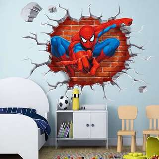 $12 (50X50cm )hot 3d hole spiderman wall stickers decal