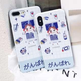 手機殼IPhone6/7/8/plus/X : 藍色牛奶妹全包黑邊光面軟殼