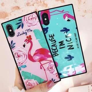 手機殼IPhone6/7/8/plus/X : 小清新花朵火烈鳥全包黑邊玻璃背板殼
