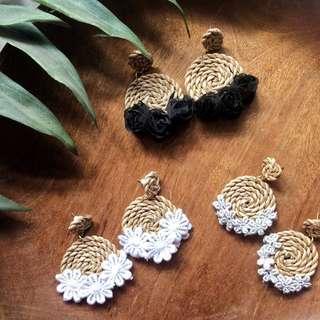 Handmade Abaca Earrings Floral