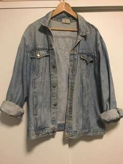 Oversized denim jacket with Adidas symbol and studs