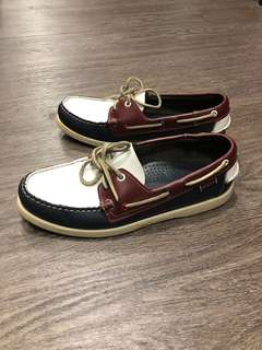 Sebago Docksides Men's Navy White Burgundy Leather Boat Shoes