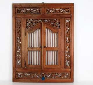 Vintage Balinese wooden shutter