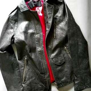 🚚 黑色真皮衣外套皮夾克大拉鍊