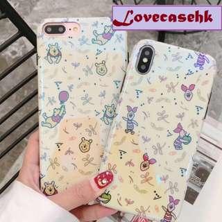 手機殼IPhone6/7/8/plus/X : 維尼熊小豬藍光全包邊軟殼