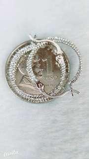 Italian 8K white gold earrings.