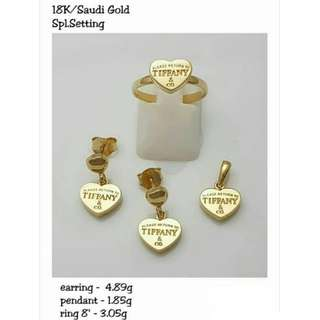 18K SPL SAUDI GOLD SET ( PENDANT, RING & EARRINGS ) ::""