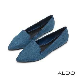 🚚 ALDO 休閒 歐式 紡織 尖頭 樂福鞋 平底 丹寧 海軍藍