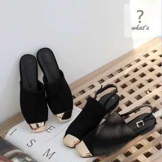 🚚 Korea👡金屬裝飾時尚絨面拖鞋/涼鞋