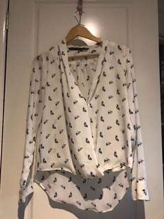Zara raccoon cross over blouse - size M