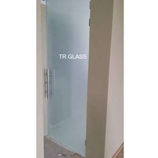 Frosted Tempered Glass Swing Door (Toilet Entrance)