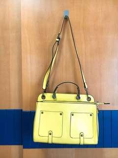 芥末黃 包包 OL 郵差包 二手包包