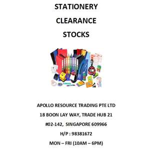 STATIONERY CLEARANCE STOCKS
