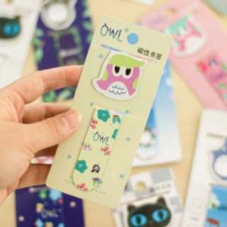 Bookmark Pembatas buku magnet karakter kartun lucu - KSY078 - Owl Pink
