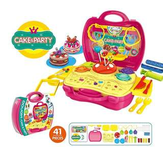 Dough Cake&Party Carry Suit Play Set Pretend Play Toy Kit