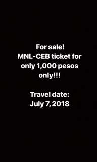 MNL-CEB Ticket for sale! Urgent!!!