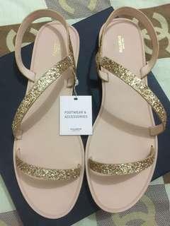 Pull and bear sandal glitter gold