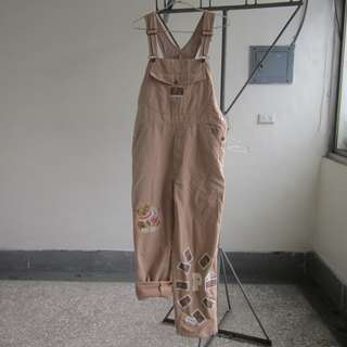 PINK HOUSE 奶茶色 古著 吊帶褲