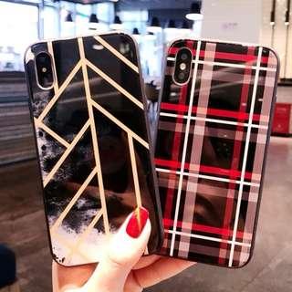^手機殼IPhone6/7/8/plus/X : 個性潮牌拼色全包邊玻璃背板殼