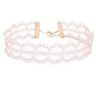 (PO) Sweet Pink Thin Lace Choker