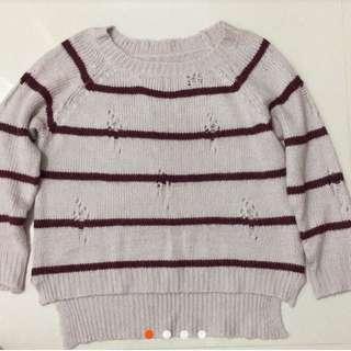 🚚 雙色條紋前短後長前紫色毛衣。
