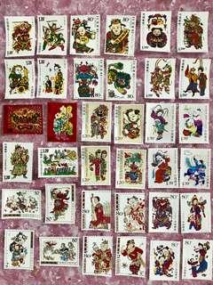 中國木板年畫郵票大全套(9組36枚)
