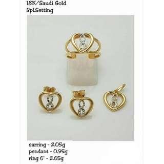 18K SPL SAUDI GOLD SET ( PENDANT, RING & EARRINGS ) ,,..,.,.
